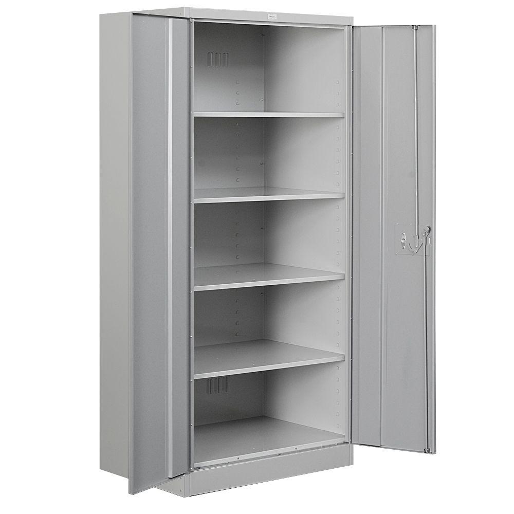 free standing in standard industries series cabinets assembled gray storage salsbury cabinet a metal shelf duty p heavy