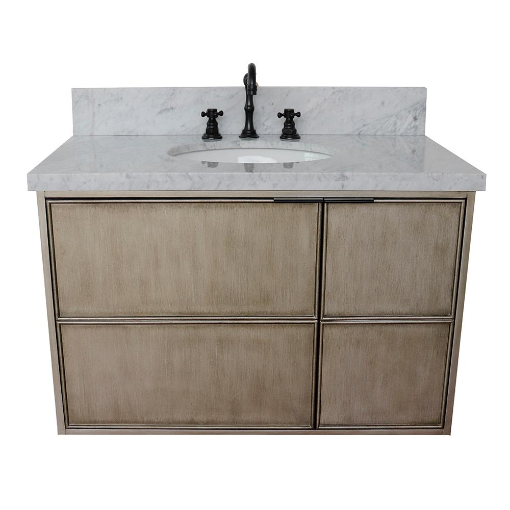 Bellaterra Home Scandi 37 in. W x 22 in. D Wall Mount Bath Vanity in Brown with Marble Vanity Top in White with White Rectangle Basin