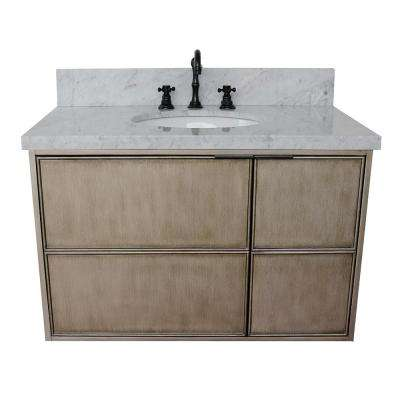 Scandi 37 in. W x 22 in. D Wall Mount Bath Vanity in Brown with Marble Vanity Top in White with White Rectangle Basin