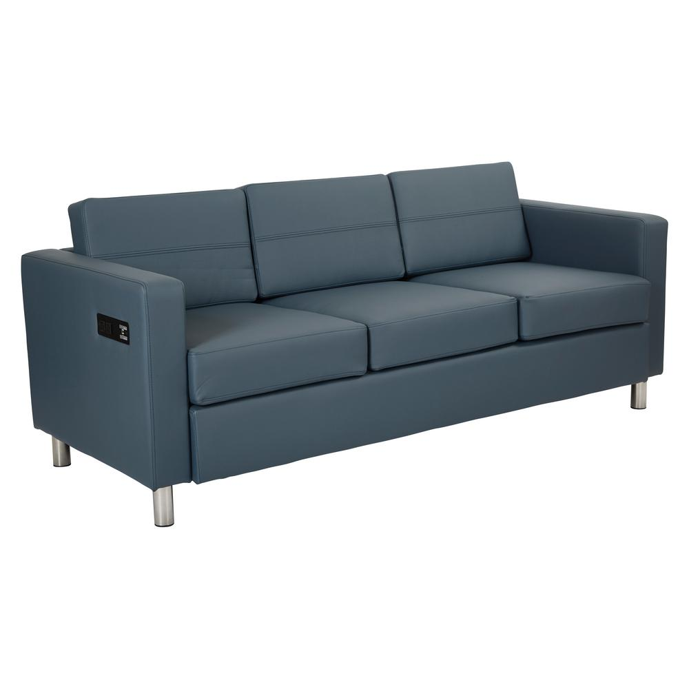 OSP Home Furnishings Atlantic 72.5 in. Blue Faux Leather 3-Seater Lawson Sofa with Removable Cushions OSP Home Furnishings Atlantic 72.5 in. Blue Faux Leather 3-Seater Lawson Sofa with Removable Cushions.
