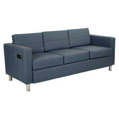 Atlantic Dillon Blue Fabrics Sofa with Dual Charging Station