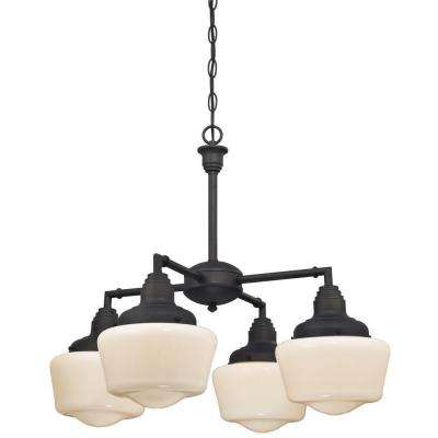 Scholar 4-Light Oil Rubbed Bronze Convertible Chandelier/Semi Flush Mount