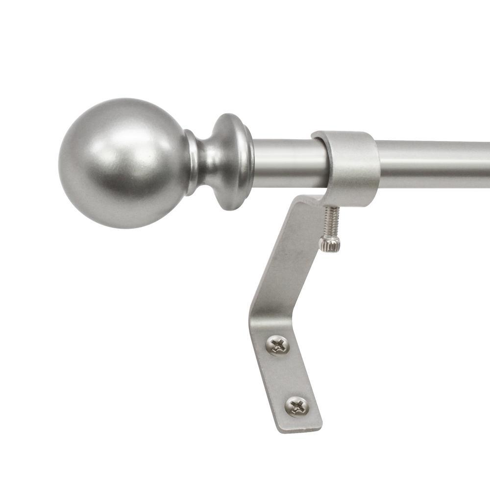 26 in. - 48 in. Ball Cafe Telescoping 1/2 in. Drapery Single Rod Set in Antique Silver