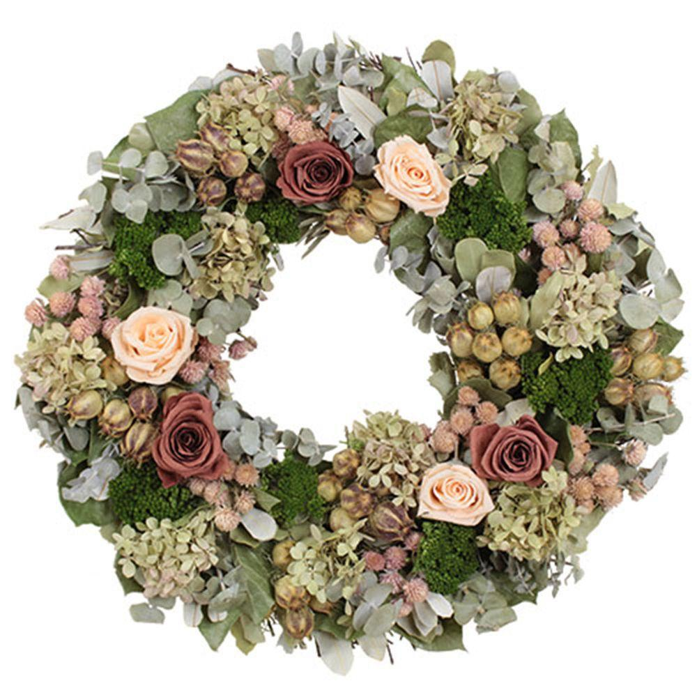 The Christmas Tree Company Coral Rose Variation 18 in. Dried Floral Wreath
