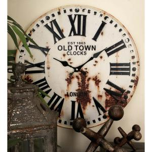 Rustic Station Clock and License Plate Wall Clock in Distressed Iron (2-Pack) by
