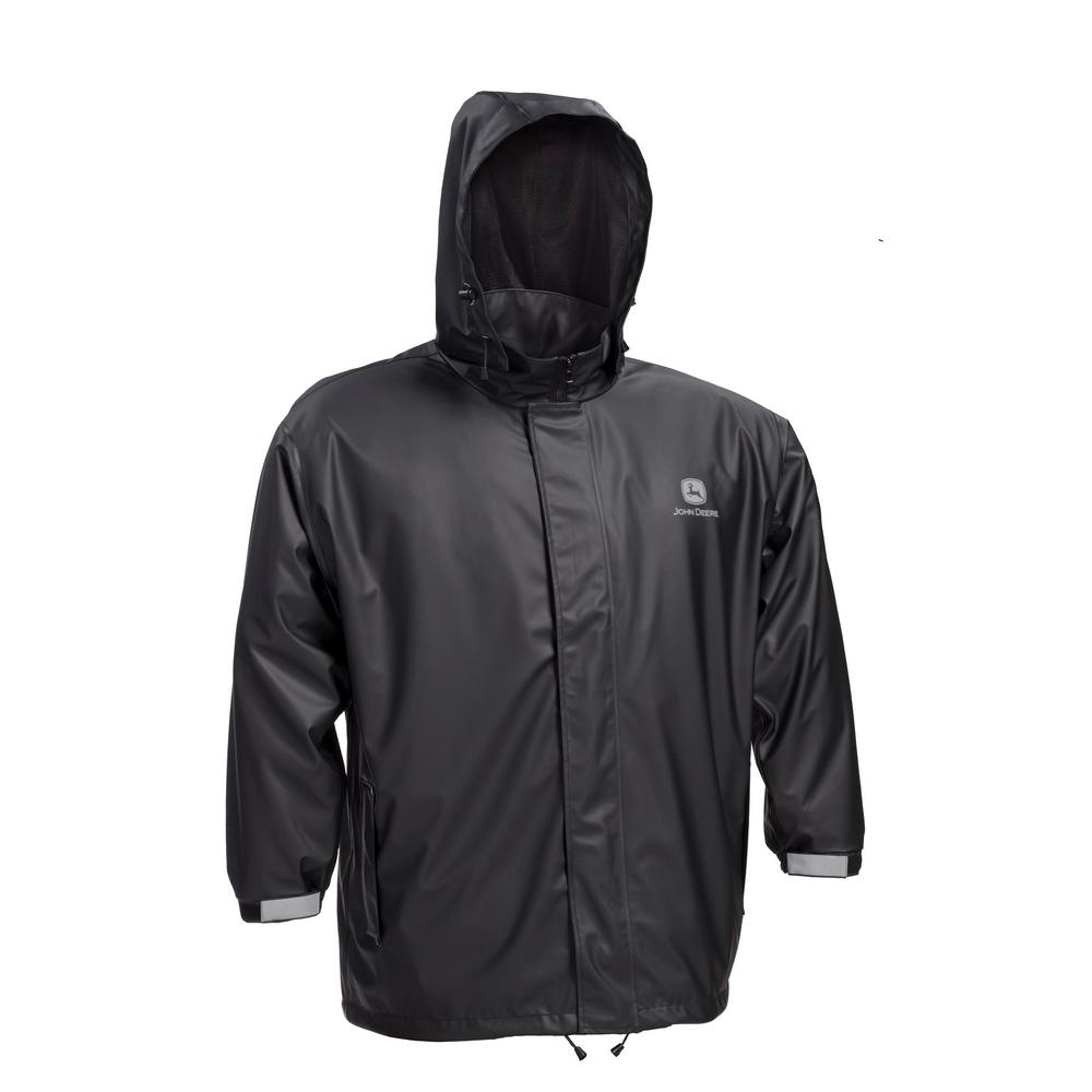 66d72d81a31 John Deere Premium Black Stretch Rain Jacket Size Large-JD44540J/L ...