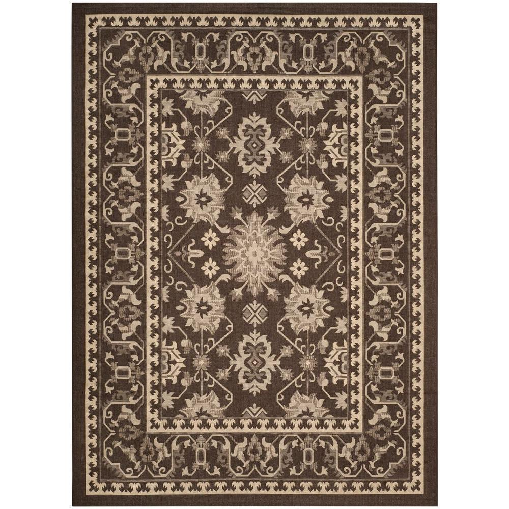 Courtyard Chocolate/Cream 6 ft. 7 in. x 9 ft. 6 in.