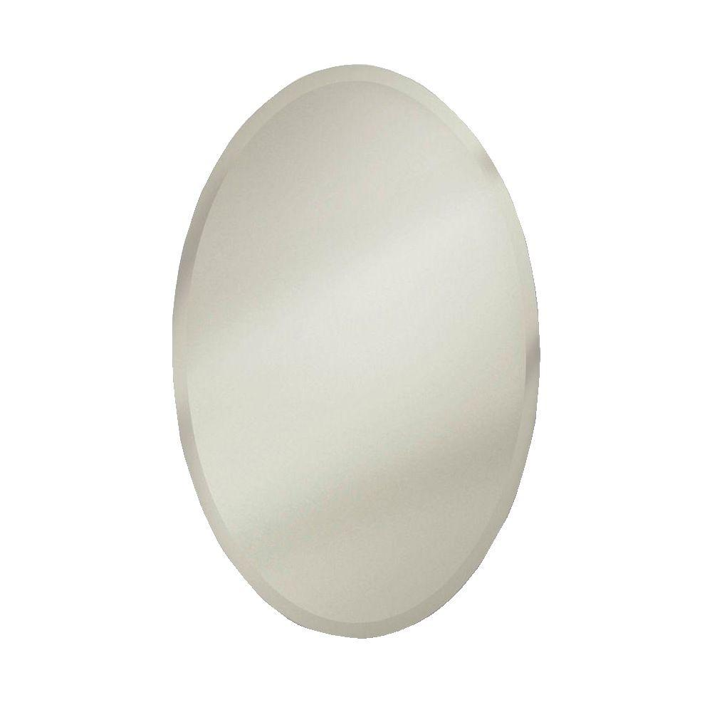 Metro Oval 21.25 in. W x 31.25 in. H x 4.5 in. D Frameless Recessed Bathroom Medicine Cabinet with Interior Mirror