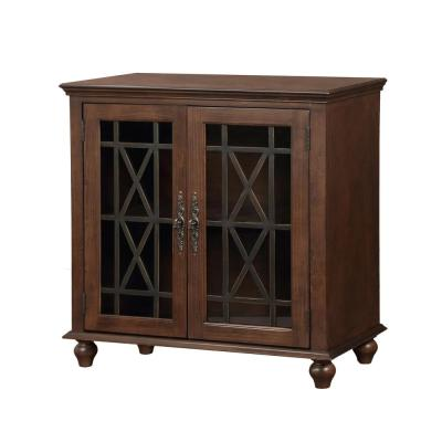 Harper's Branch Walnut Brown Accent Cabinet with Framed Doors