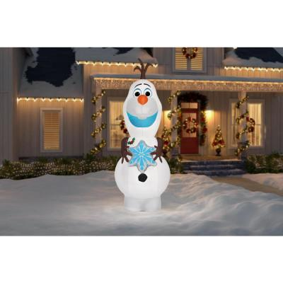 11 ft. Pre-Lit Inflatable Olaf with Snowflake Airblown-Disney