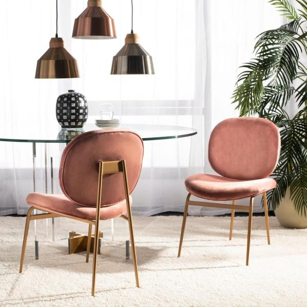 Brilliant Safavieh Jordana Dusty Rose Gold Velvet Side Chair Set Of 2 Caraccident5 Cool Chair Designs And Ideas Caraccident5Info