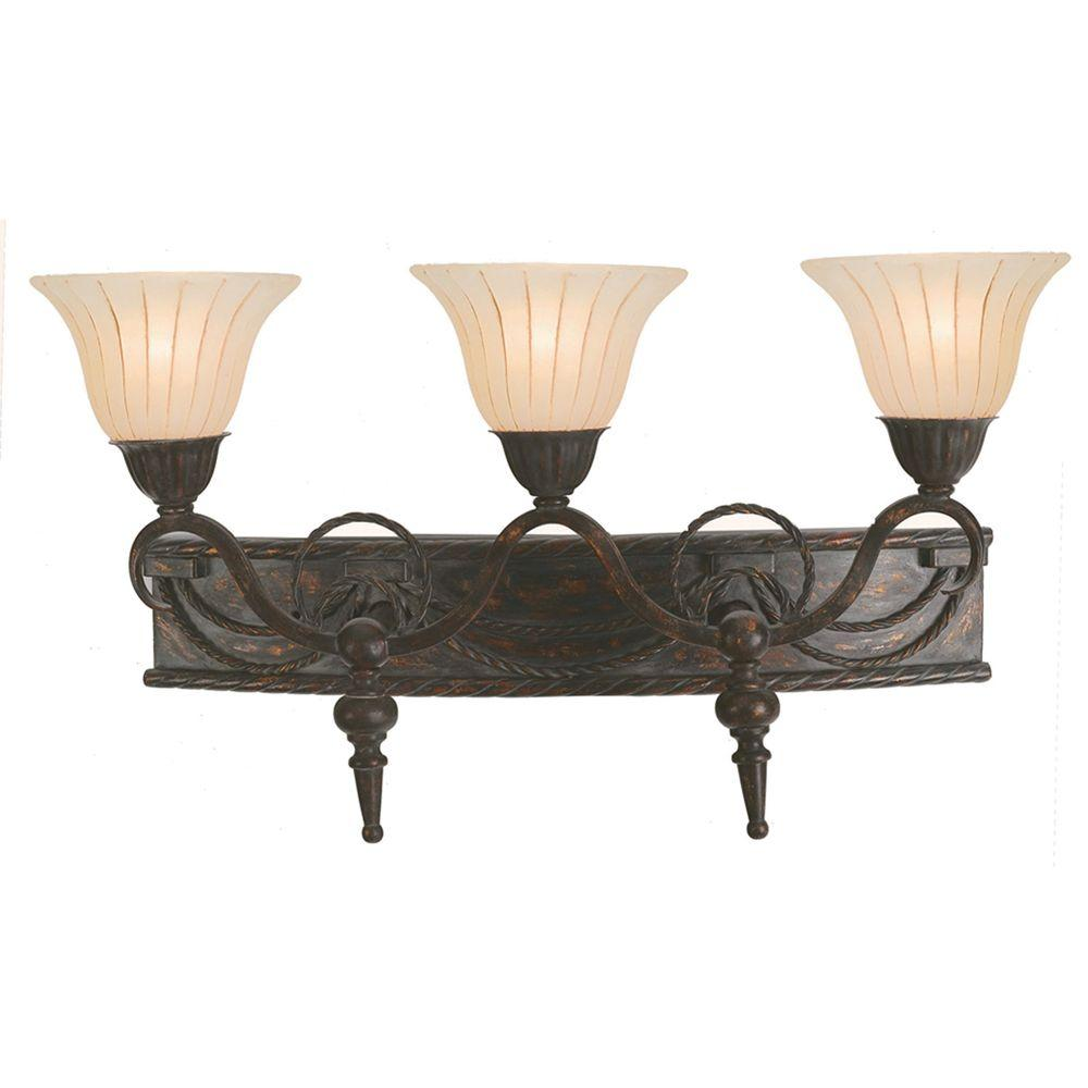Isabella Collection 3-Light Earthen Bronze Bathroom Vanity Light with Spanish