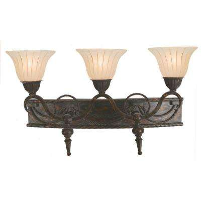 Isabella Collection 3-Light Earthen Bronze Bathroom Vanity Light with Spanish Scalloped Glass Shade