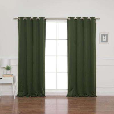 52 in. W x 96 in. L Flame Retardant Blackout Curtain Panel Set in Moss