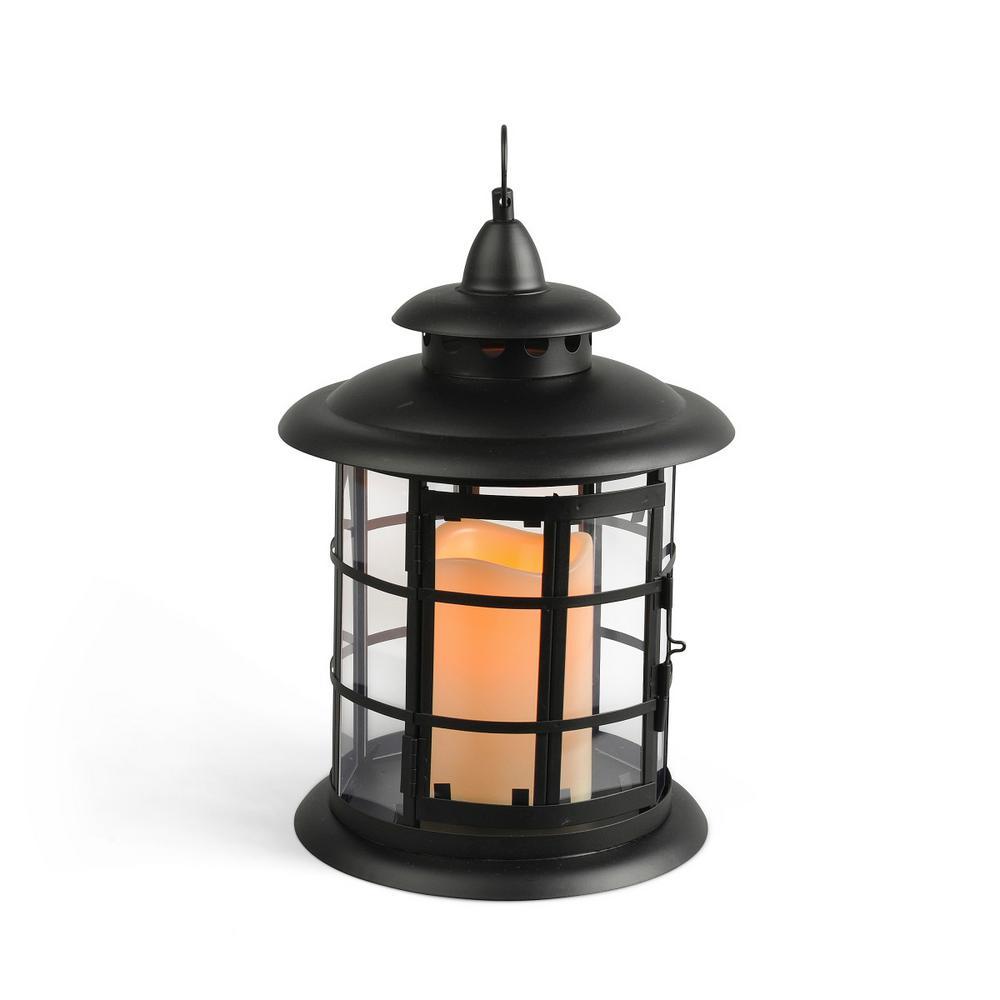 Gerson 10 in. Black Metal LED Lantern