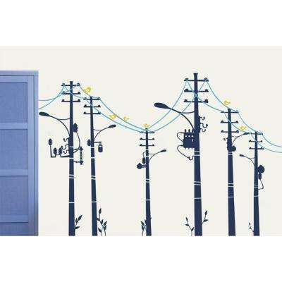 118 in. x 78 in. Cool Wire Pole Removable Wall Decal