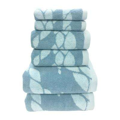 Ripple 6-Piece 100% Cotton Bath Towel Set in Pacific Blue
