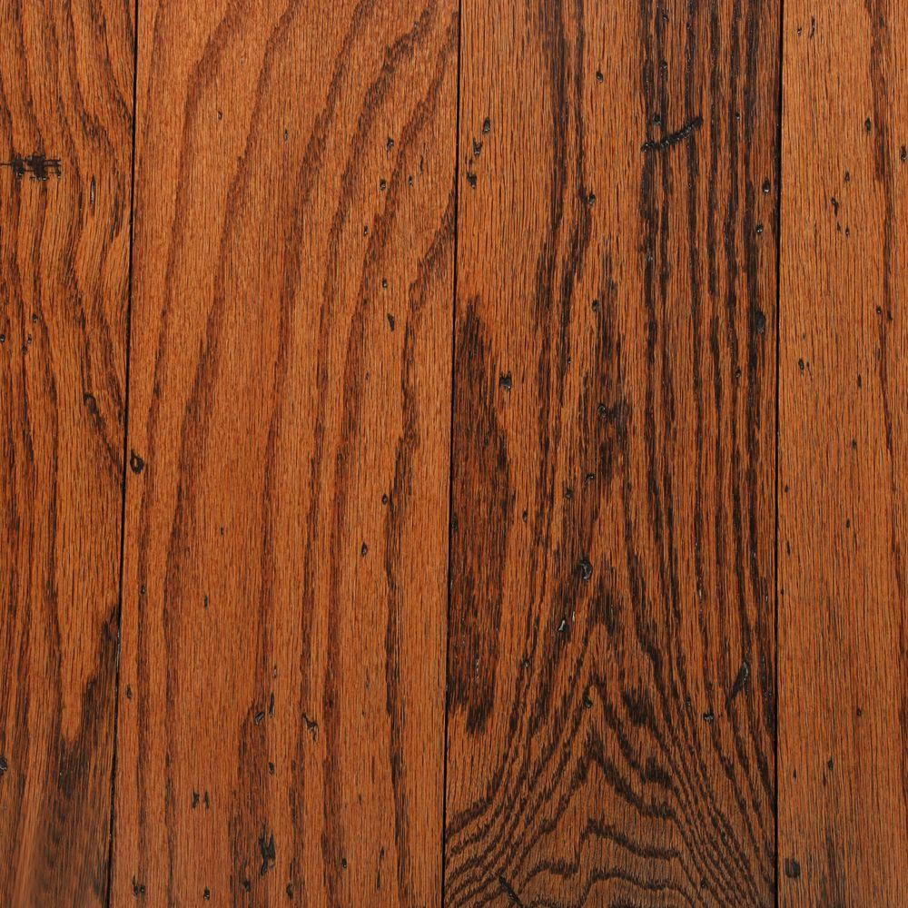 Bruce distressed oak gunstock 3 8 in thick x 5 in wide for Engineered oak flooring