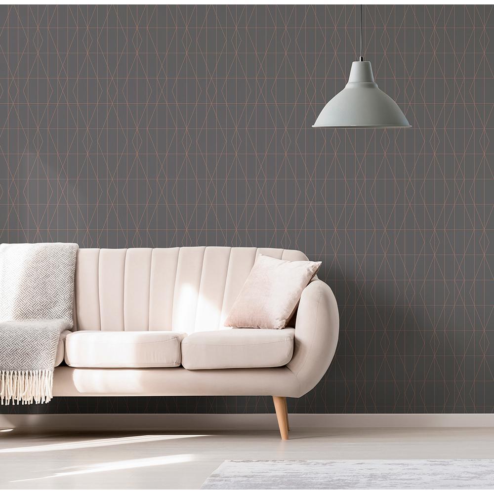 56.4 sq. ft. LeVeque Charcoal Deco Diamond Geo Wallpaper