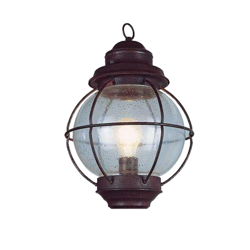 Lighthouse 1-Light Outdoor Rustic Bronze Coach Lantern with Seeded Glass