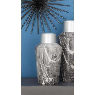 14 in. Silver and Gray Marble Paneled Decorative Bottle-Shaped Vase