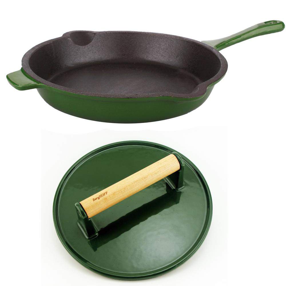 Neo Green Cast Iron Frying Pan with Steak Press