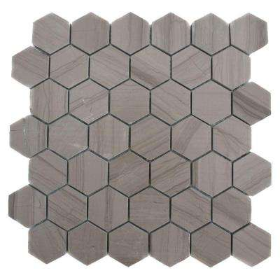 Athens Grey Hexagon 12 in. x 12 in. x 8 mm Polished Marble Floor and Wall Tile