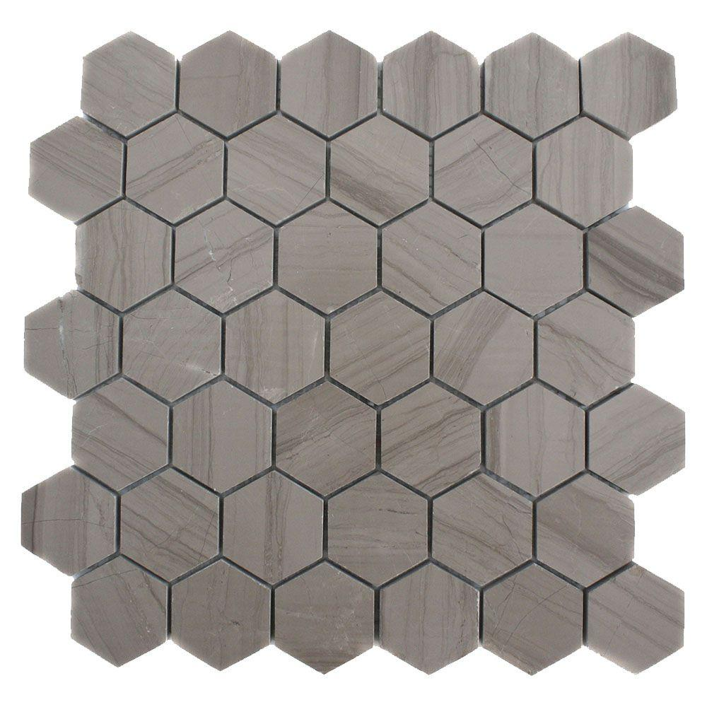 Splashback Tile Athens Grey Hexagon 12 In X 12 In X 8 Mm Polished
