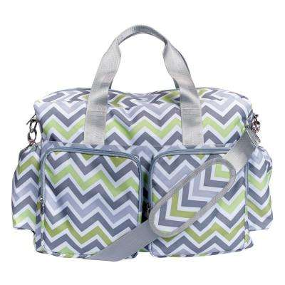 12 in. Green, Gray and White Chevron Deluxe Duffle Diaper Bag