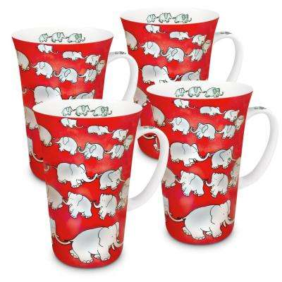 Konitz 4-Piece Chain of Elephants Red Porcelain Mega Mug Set