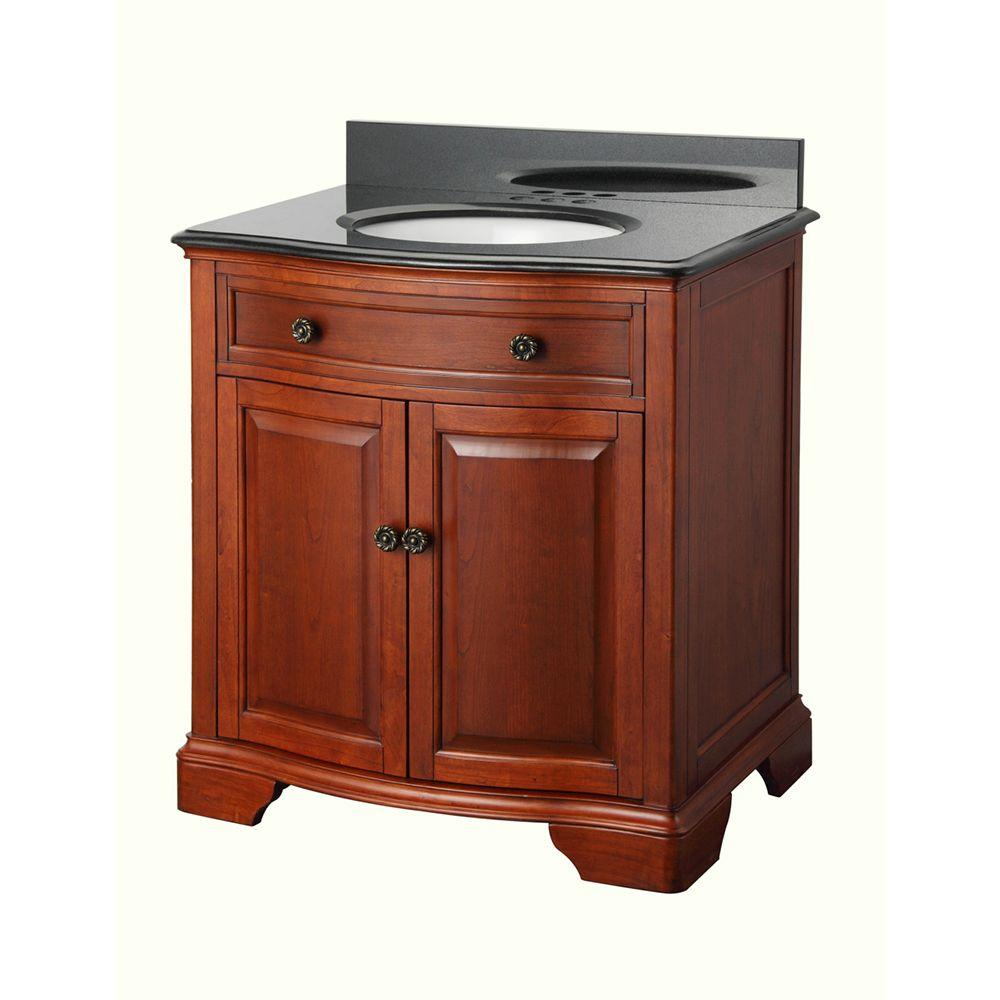 Lovely Home Decorators Collection Manchester 31 In. W Bath Vanity In Mahogany With  Granite Vanity Top In Black MNGVT3021   The Home Depot