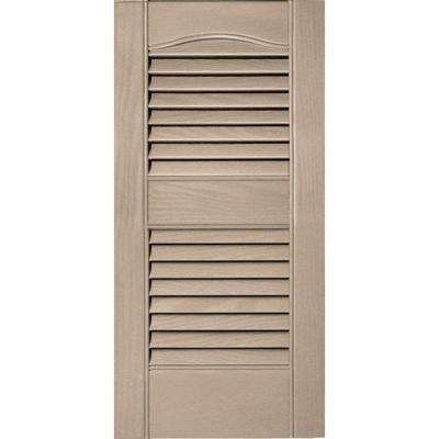 12 in. x 25 in. Louvered Vinyl Exterior Shutters Pair #023 Wicker
