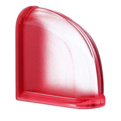 Cherry 5.75 in. x 5.75 in. x 3.15 in. Classic Red End Curved Glass Block