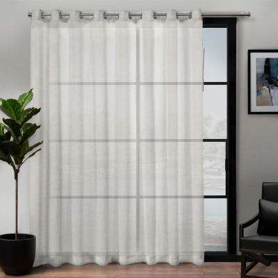 Belgian Patio 108 in. W x 84 in. L Sheer Grommet Top Curtain Panel in Snowflake (1 Panel)