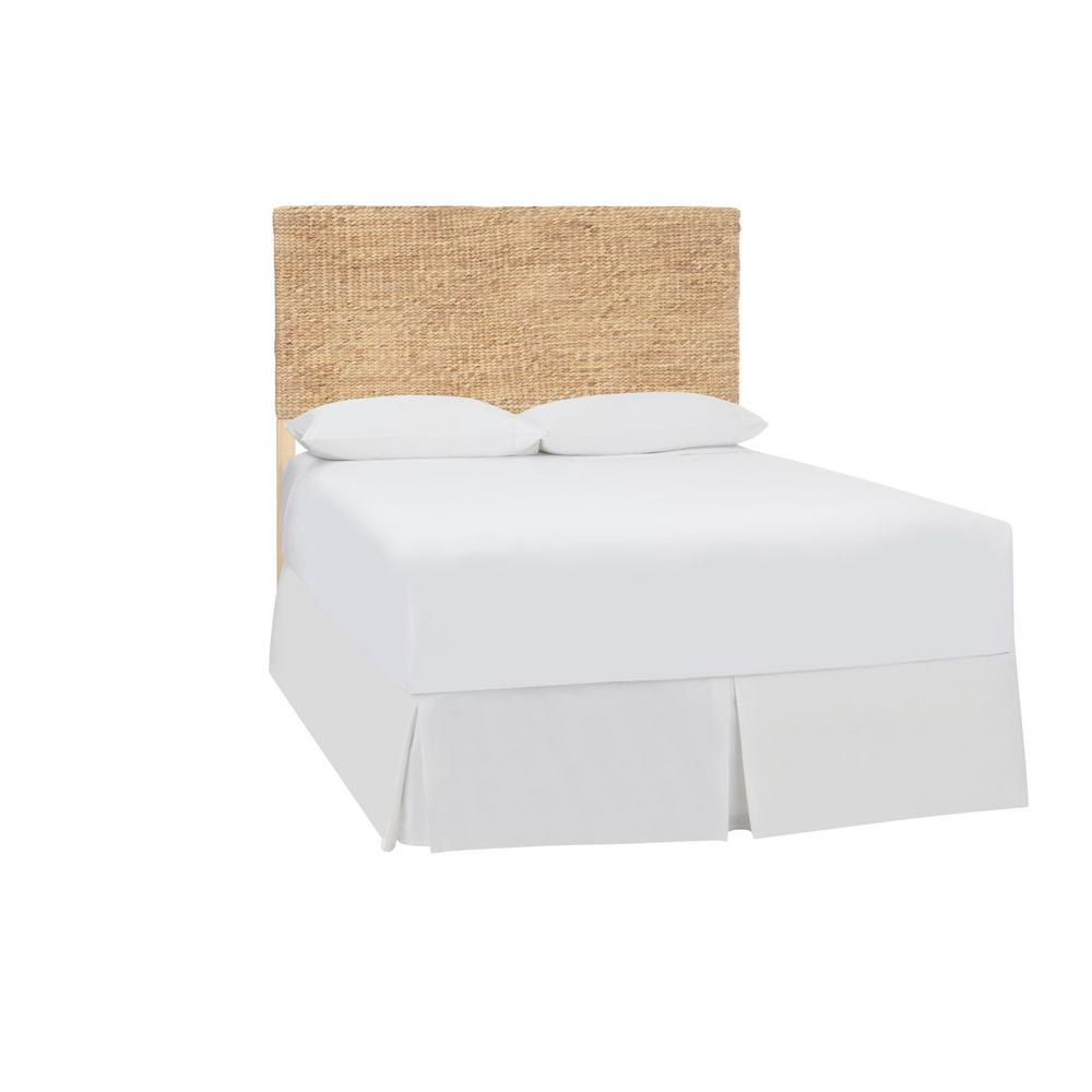 Caspian Natural Finish Wood and Water Hyacinth Queen Headboard (63.39 in W. X 55.12 in H.)