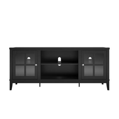 Queensbury 60 in. Black Particle Board TV Stand Fits TVs Up to 65 in. with Cable Management