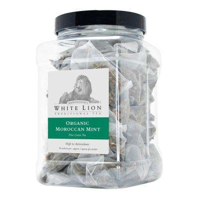 Tea Organic Moroccan Mint 50 Bulk Sachets Food Service Canister Tea Bags Sachets (50 per Pack)