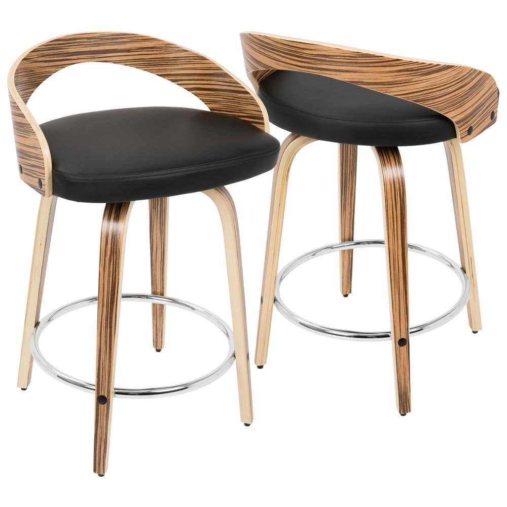 lumisource grotto zebra wood and black swivel counter stool cs jy grt zb bk the home depot. Black Bedroom Furniture Sets. Home Design Ideas