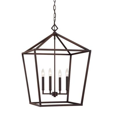 4-Light 20 in. Wide Taper Candle Rubbed Bronze Pendant
