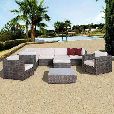 Southampton Grey 9-Piece All-Weather Wicker Patio Seating Set with Off-White Cushion