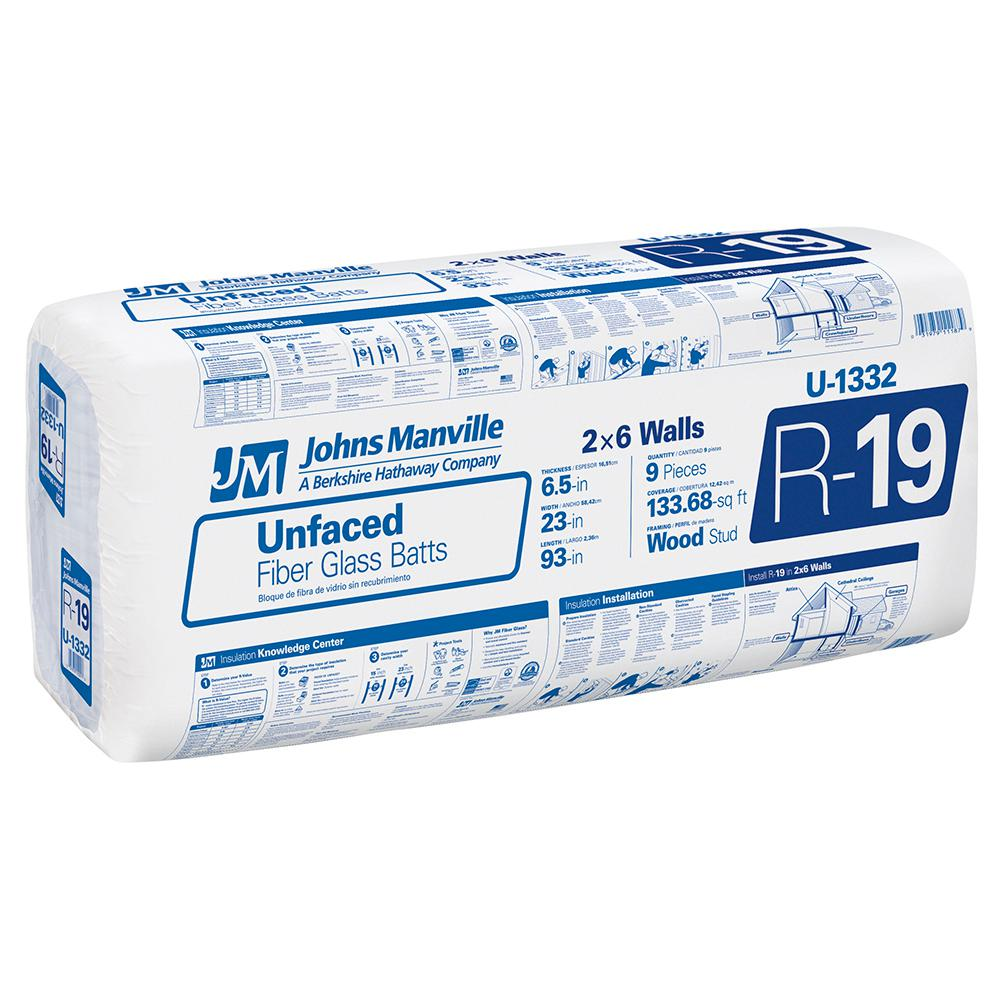 Johns Manville R 19 Unfaced Fibergl Insulation Batt 23 In X 93