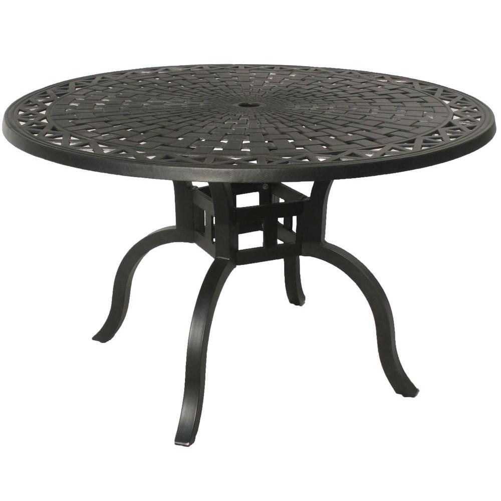 oakland living hampton aluminum 48 in dia round patio dining table rh homedepot com oakland a's free round table pizza round table oakland mountain blvd