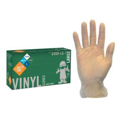 Large Clear Lightly Powdered Disposable Vinyl Gloves (10-Pack of 100-Count)