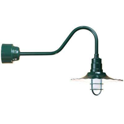 1-Light Outdoor Green Angled Arm Radial Shade Wall Sconce with Wire Guard and Frosted Glass