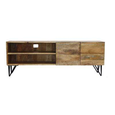 2-Open Shelved Brown Finish TV Unit in Mango Wood