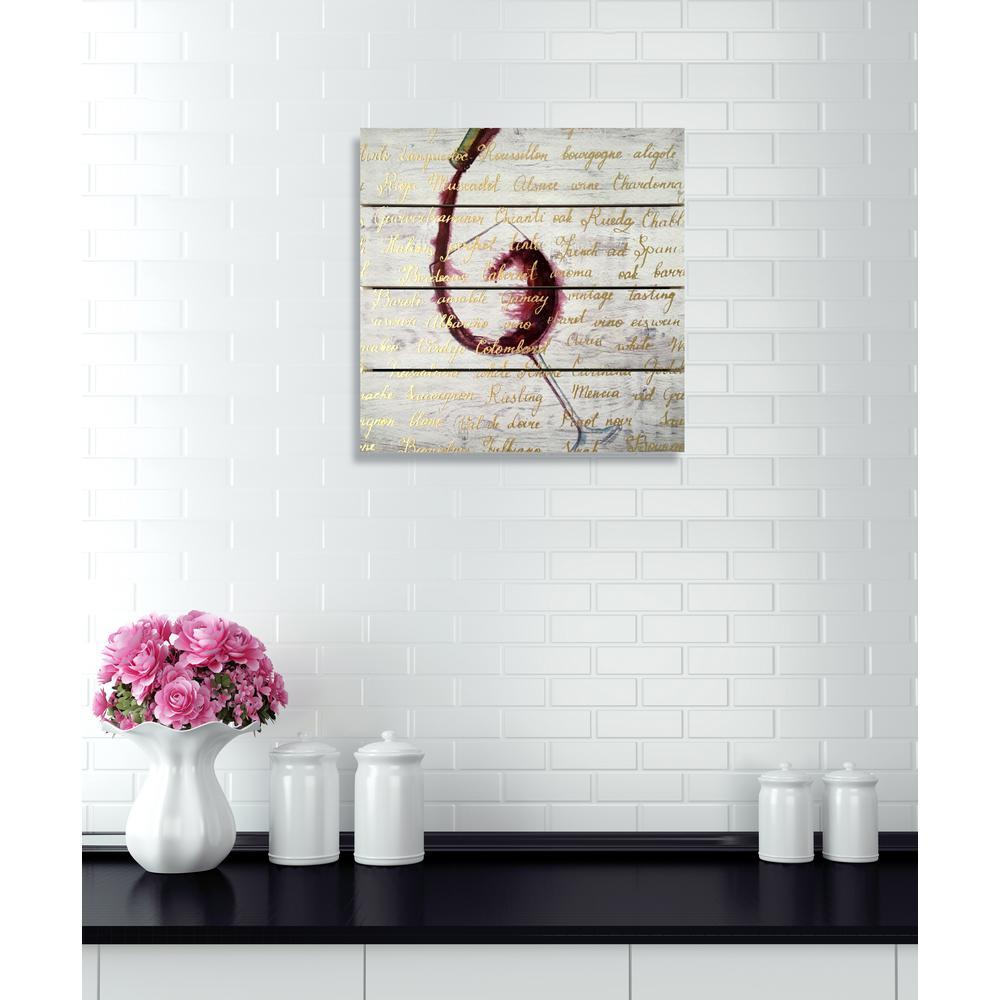 "14 in. x 14 in. ""Wine List"" By Wynwood Studio Framed Printed Wood Wall Art"