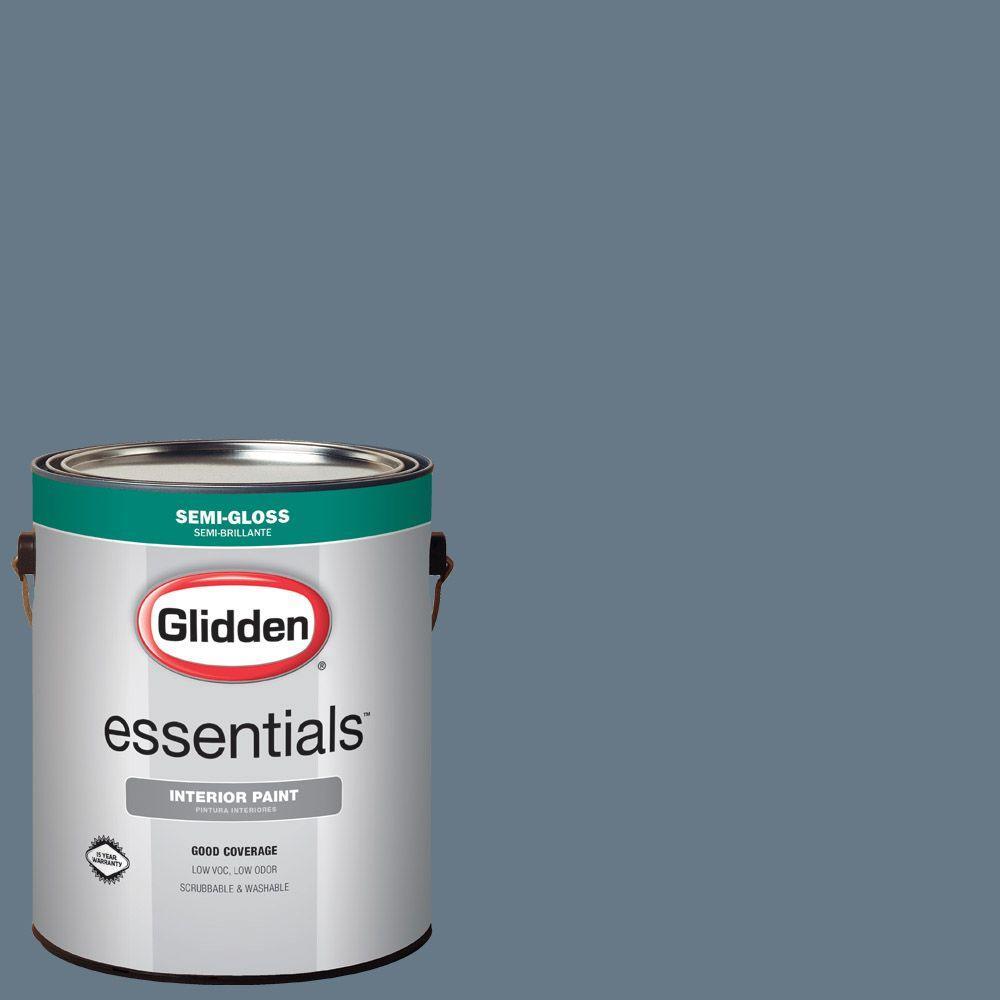 Glidden Essentials 1 Gal Hdgv13u Mountain Slate Blue Semi Gloss Interior Paint Hdgv13ue 01sn The Home Depot