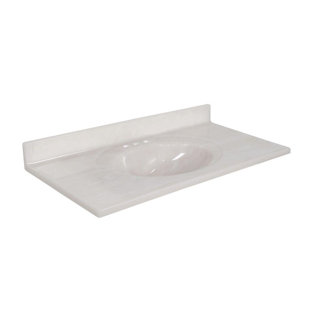 Newport 37 in. Cultured Marble Vanity Top with Basin in White