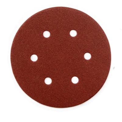 6 in. 320-Grit Aluminum Oxide Hook and Loop 6-Hole Disc (25-Pack)