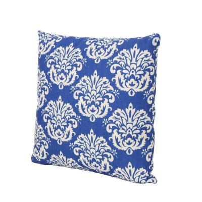Tenerife Blue Damask and Beige Square Outdoor Throw Pillow